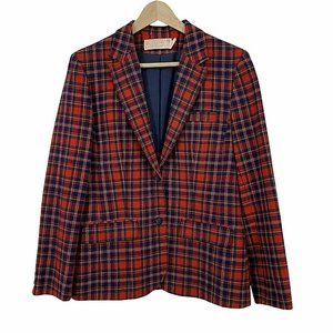 Vintage 70s Pendleton Red Tartan Plaid Wool Blazer